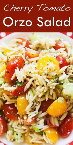 Quick and easy Cherry Tomato Orzo Salad, perfect for a picnic or a hot summer day! On SimplyRecipes.com