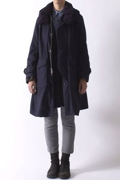 f3f38aaf02 Engineered Garments Navy Storm Coat