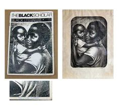 """Cover of a signed 1978 copy of The Black Scholar with Elizabeth Catlett's """"Mother and Child'"""" print, left. The original circa 1970 lithograph is shown at right. Photo of lithograph from RoGallery.com. -  See more at: http://myauctionfinds.com/2015/02/20/reader-asks-about-book-signed-by-elizabeth-catlett/#sthash.z2zSa9Go.dpuf"""