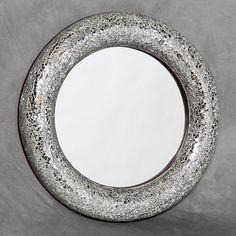 Round Crackle Glass Mosiac Mirror : Beau Decor
