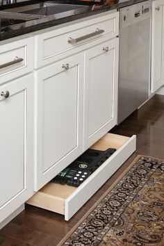 storage drawers in the toekick under the cabinets