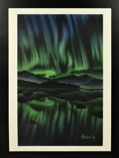 "Northern lights series "" print of the original painting. Signed by the author - limited edition available! Northern Lights, Nature, Travel, Etsy, Vintage, Naturaleza, Viajes, Destinations, Nordic Lights"