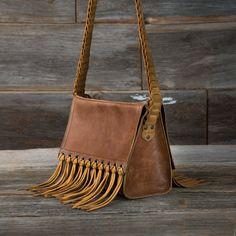 Sarape Leather Bag in caramel brown