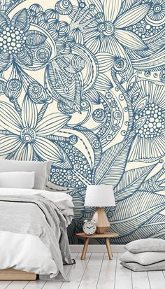 Stunning Flowers and doodles blue wall mural from Wallsauce. This high quality Flowers and doodles blue wallpaper is custom made to your dimension Blue Wallpaper Iphone, Blue Wallpapers, Wall Wallpaper, Blue Wallpaper Bedroom, Wallpaper Designs For Walls, Vintage Wallpapers, Wall Murals Bedroom, Mural Wall Art, Flower Mural