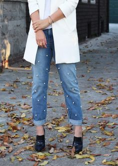 It's time to start dreaming in denim again — and these #DIY pearl-embellished pants have been running through our minds all night.