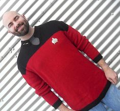 Knitting pattern for mens Star Trek inspired sweater tunic Hes Not an Extra
