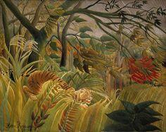 Henri Rousseau - Tigre en una tormenta tropical (1891). Arte naíf. Óleo sobre lienzo de 130 × 162 cm. The National Gallery (London), U.K.