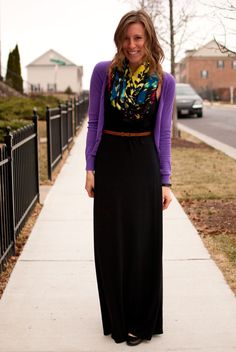 What I Wore: Hostess | Turquoise necklace, Long black and Maxi dresses