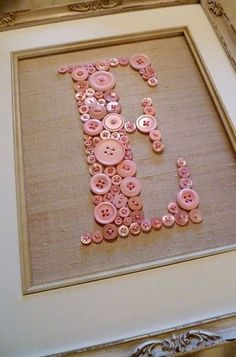 Personalized Baby Girl Nursery Button Art, Kid Wall Art, Pink Button Letter on Antique White Silk, Unique Baby Gift, Girl Nursery Decor - Crafts