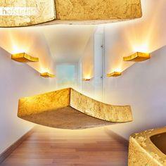 goldfarbene Keramik Wohn Schlaf Raum Flur Dielen Beleuchtung Up Down Wand Lampen