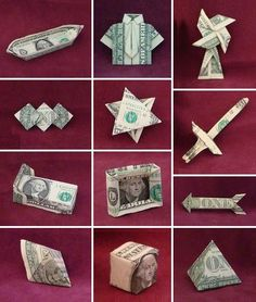 Can create really unusual things with dollar bills and origami. Would be really interesting to make a minimalistic poster using just one origami dollar bill relevant to the storyline of The Wolf of Wall Street. Folding Money, Origami Folding, Useful Origami, Origami Paper, Origami Boxes, Paper Folding, Homemade Gifts, Diy Gifts, Cash Gifts