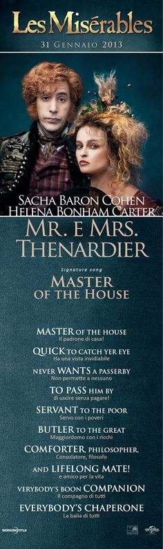 #LesMis - Sacha Baron Cohen, Helena Bonham Carter / Mr. e Mrs. Thenardier. Signature song: Master of the House.