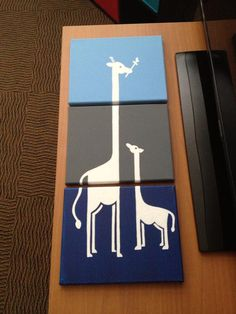 MKS Expressions - Megan Schmidt original artwork - three canvas giraffe piece