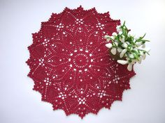 Hey, I found this really awesome Etsy listing at https://www.etsy.com/listing/222969162/red-crochet-doily-15-inches-round-lace