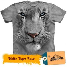 Big Face White Tiger T-Shirt by The Mountain. Giant Head Zoo Animal Sizes -Whale - Big Face White Tiger T-Shirt by The Mountain. Tiger T-shirt, Tiger Face, 3d T Shirts, T Shirts For Women, Mode Geek, Face Design, Mountain Man, Mountain Shirts, Zoo Animals