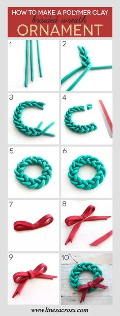 Handmade Braided Wreath Ornament – a quick and simple DIY Christmas project for someone new to Polymer Clay. : Handmade Braided Wreath Ornament – a quick and simple DIY Christmas project for someone new to Polymer Clay. Polymer Clay Kunst, Polymer Clay Projects, Polymer Clay Creations, Diy Clay, Clay Crafts, Polymer Clay Tutorials, Clay Christmas Decorations, Polymer Clay Christmas, Diy Christmas Ornaments