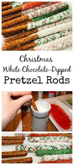 Easy Christmas White Chocolate-Dipped Pretzel Rods…