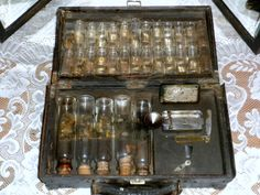 Rare Leather Antique Doctors Apothecary Case with 55 Original Bottles a Dead Mans Chest and Pharmaceutical Scales Dated 1885
