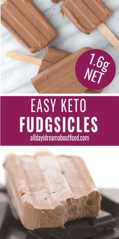 Sugar-Free Keto Fudge Pops So easy, so delicious, you won't believe these homemade Fudgsicles are sugar-free! At only net carbs, they are a heavenly keto dessert recipe. Keto Desserts, Keto Friendly Desserts, Easy Keto Dessert, Keto Foods, Foods To Eat, Low Carb Keto, Low Carb Recipes, Keto Carbs, Free Keto Recipes