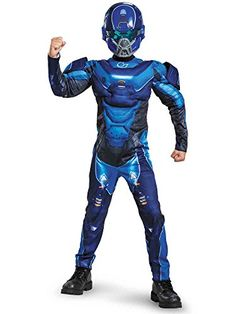 He can transform into a super soldier with a Halo Blue Spartan Muscle Costume for boys. This Blue Spartan Muscle Costume includes a padded jumpsuit and a Blue Spartan mask. Toddler Costumes, Boy Costumes, Adult Costumes, Cartoon Costumes, Disney Costumes, Halloween Costume Shop, Adult Halloween, Halloween Costumes For Kids, Spartan Costume
