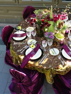 Deep Magenta and Charteuse Details  - Wedding Reception