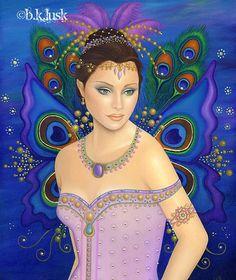 #EBAY Original Oil #Painting Fairy Peacock Lavender Karma Grace Fantasy #Art Blue Bird