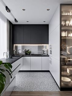 Sleek and Sophisticated Minimalist Kitchens Ideas to Try Out Home Design Kitchen Room Design, Kitchen Cabinet Design, Modern Kitchen Design, Home Decor Kitchen, Interior Design Kitchen, Home Kitchens, Modern Grey Kitchen, Small Modern Kitchens, Modern Kitchen Cabinets