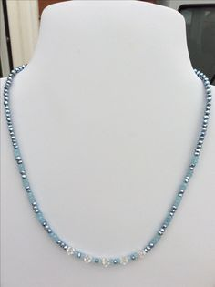 Sky Blue Quartzite and Swarovski crystals.