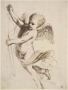 Guercino, Cupid puttng arrow in quiver, pen and brown ink 1630s, drawing, British Museum