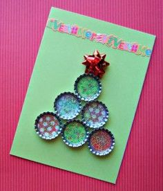 Unique Handmade Bottle Cap Christmas Tree Card with Mod Podge Dimensional Magic & Patterned Card Stock - - Handmade Bottle Cap Christmas Tree Card Craft Tutorial Project Bottle Cap Crafts, Diy Bottle, Christmas Tree Crafts, Christmas Ornaments, Xmas, Mod Podge Dimensional Magic, Card Patterns, Handmade Ornaments, Card Stock