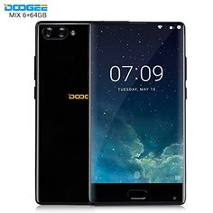 Doogee MIX 5.5 Zoll 6GB RAM 64GB ROM Android 7.0 4G Smartphone Helio P25 Octa-Kern 2,5 GHz Metallgehäuse Berührungssensor Front- und Doppel Rückkameras(Schwarz)