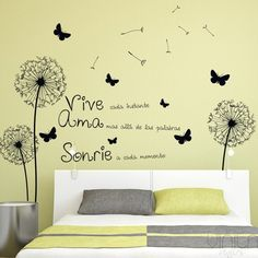 Decora tu pared con este original vinilo decorativo floral dientes de león School Murals, Wall Decor, Room Decor, Paint Designs, My Room, Decoration, Girls Bedroom, Decorating Your Home, Sweet Home