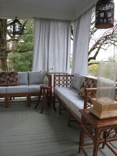 curtains for the bedroom porch. The curtains can be pulled back or opened up to create various layers of privacy. Also will use plants in containers on the porch and on the main patio to further create layers and soften the landscape. Porch And Balcony, Balcony Ideas, Porch Ideas, Patio Ideas, Backyard Ideas, Garden Ideas, Outdoor Spaces, Outdoor Living, Outdoor Decor