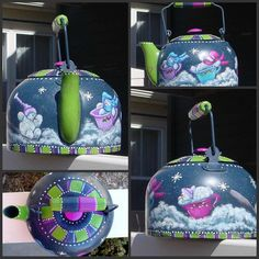 Painted by me, Design by Trudy Beard tea pot with bright colors Painted Pots, Painted Metal, Hand Painted, Tole Painting, Painting On Wood, Deco Paint, Punch Art Cards, Christmas Paintings, Glass Material