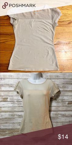 Express • Cream Top Perfect fun basic to your closet!  Cool mesh neckline. Cute Keyhole in the back.  Goes so well with Printed pants or skirts. Great Expectations Tops Blouses