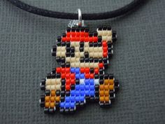 Handmade Seed Bead Mario Necklace by Pixelosis on Etsy, $15.00
