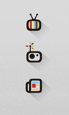 by Milos Radojevic Flat Design Icons, Icon Design, Word Design, App Design, Tv Icon, Radio Icon, Newspaper Logo, Doodle Icon, Radios
