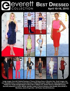 Large images, from left: Dakota Fanning in Theory; Brittany Snow in Brandon Sun. Small images, top row: Elizabeth Olsen in Galvan; Cobie Smulders in Bibhu Mohapatra. Middle row: Kate Bosworth in Lilly Pulitzer for Target; Bridget Regan in Elena Reva. Bottom row: Amber Heard in Stella McCartney; Scarlett Johansson in Zuhair Murad; Jennifer Lopez in Versus Versace; Joan Smalls; Olivia Wilde in Marchesa; Jaime King in Dior. All Photos: Everett Collection