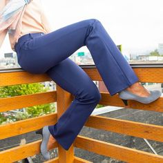 Betabrand designs amazingly comfortable clothing for women who like to stay active all day long. Dress Pant Yoga Pants, Yoga Denim, travel wear, and more. Dress Yoga Pants, Navy Dress Pants, Women's Pants, Trousers, Most Comfortable Jeans, Betabrand, Gym Clothes Women, Outfit Look, How To Stretch Boots