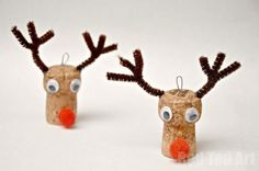 """Super cute Reindeer Ornaments - we love cork crafts. So cute and fun. Here we made a little Rudolph Ornament for the kids """"mini trees"""","""