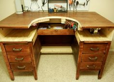 Release Me Creations: modify a wooden desk for a workbench