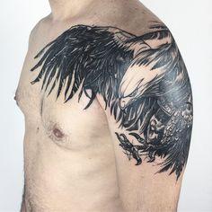 Rebirth Tattoo, Eagle Shoulder Tattoo, Capricorn Tattoo, Tattoo Set, Animal Heads, Blackwork, Tattoos For Women, Tattoo Artists, Cool Tattoos