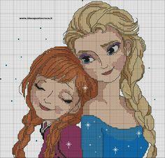 Frozen Anna & Elsa cross stitch pattern