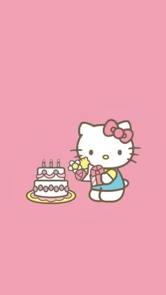 Hello Kitty Iphone Wallpaper, Hello Kitty Backgrounds, Sanrio Wallpaper, Pink Wallpaper, Hello Kitty Cake, Hello Kitty Birthday, Rilakuma Wallpapers, Happy Kitty, Hello Kitty Pictures