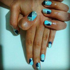 Brush up and polish up cnd shellac nail art pastel diagonals blue and silver nail art with cnd shellac prinsesfo Image collections