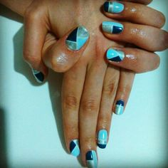 Blue and silver nail art with cnd shellac