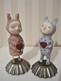RABBIT- BUNNY- Boy papier mache- folk art- handmade art doll - ooak doll  polka dots. $40.00, via Etsy.
