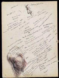 """Paul Valéry, """"La Jeune Parque."""" Cahier de brouillon, avec dessins à la plume, 1912. BNF, Manuscrits, N. a. fr. 19005, f. 7v°"""