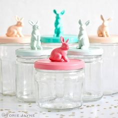 Bunny Topped Jars  - Easter Mason Jar Crafts - Easter Craft Ideas with Mason Jars