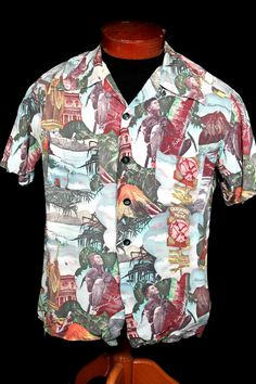 Very rare collectible photo shirt as shown in Steele's book page 54 and Schiffer's book page The full color shirts were rare because the process to manufacture the fabric was very difficult. Vintage Hawaiian Shirts, Bowling Shirts, Tailored Shirts, Aloha Shirt, 40s Fashion, Vintage Outfits, Vintage Clothing, Shirt Outfit, Hawaiian Dresses